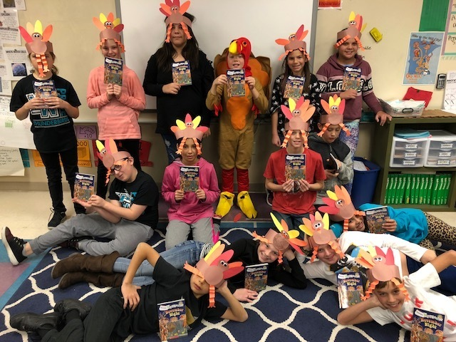 "Mrs. Haverkamp's 4th graders want to thank our monthly book sponsors! Each student got the book ""November Night"" to read and enjoy over the long break. Happy Thanksgiving to everyone! Gobble Gobble!"