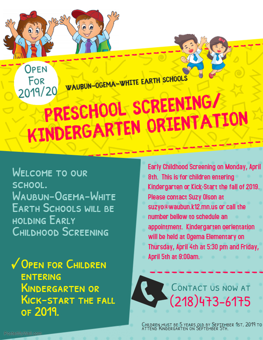 Preschool Screening/ Kindergarten Orientation
