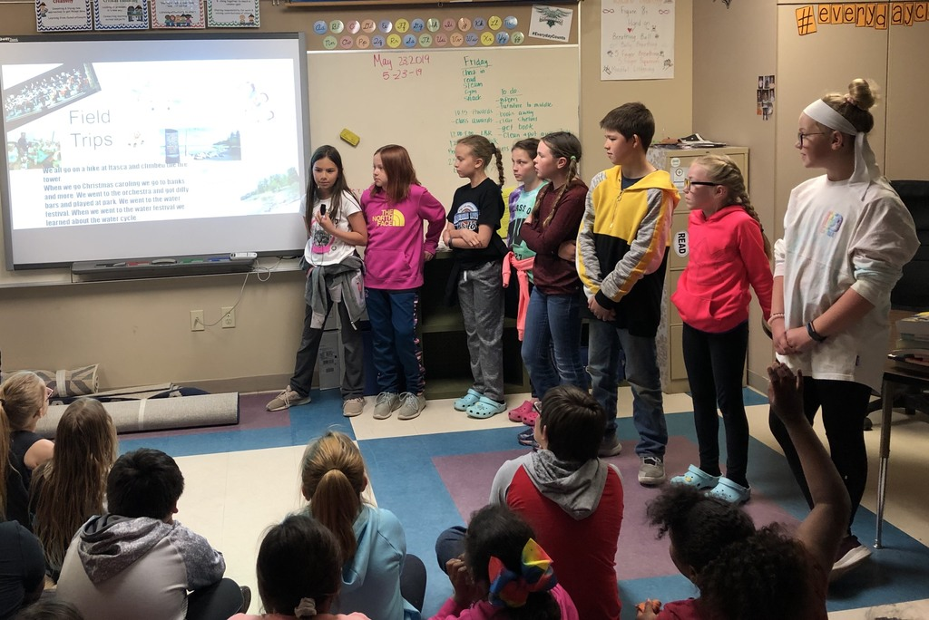 A select few 4th graders presented highlights from the year to the incoming class. They made a slideshow, practiced their parts, and handled questions. What a wonderful way to show their leadership skills and get the incoming class fired up for the next grade!!