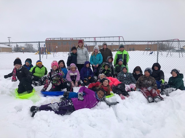 Mrs. Haverkamp's class earned a class sledding party for great behavior! Way to go 4th grade!